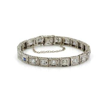 ART DECO 14K WHITE FILIGREE OLD EURO DIAMOND & SAPPHIRE LINK BRACELET #J3088-5