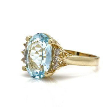 14K SOLID GOLD OVAL AQUAMARINE AND ROUND DIAMOND ACCENTS RING 4.80 CTW JB36-1