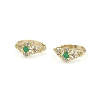 10K GOLD .38 CTW NATURAL EMERALD & DIAMOND SCROLL DESIGN HOOP EARRINGS #1024B-3