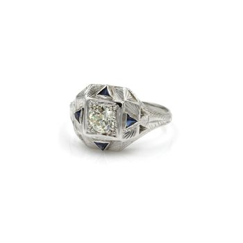 STUNNING 18K WHITE GOLD 0.33 CT OLD EURO DIAMOND & SAPPHIRE RING SIZE 5.25 #E264