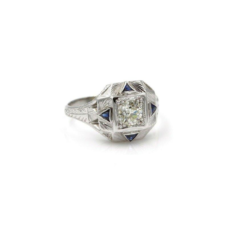 National Rarities STUNNING 18K WHITE GOLD 0.33 CT OLD EURO DIAMOND & SAPPHIRE RING SIZE 5.25 #E264