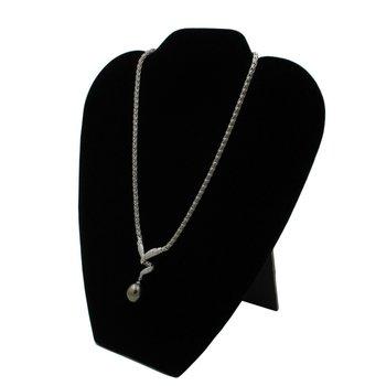 "STUNNING MIKIMOTO PLATINUM TAHITIAN PEARL 0.50 CTW DIAMOND 15.5"" NECKLACE #E-85"