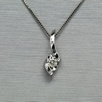 14K WHITE GOLD ROUND DIAMOND SIRENA NECKLACE CTW 0.11 BYPASS DESIGN 18 INCHES