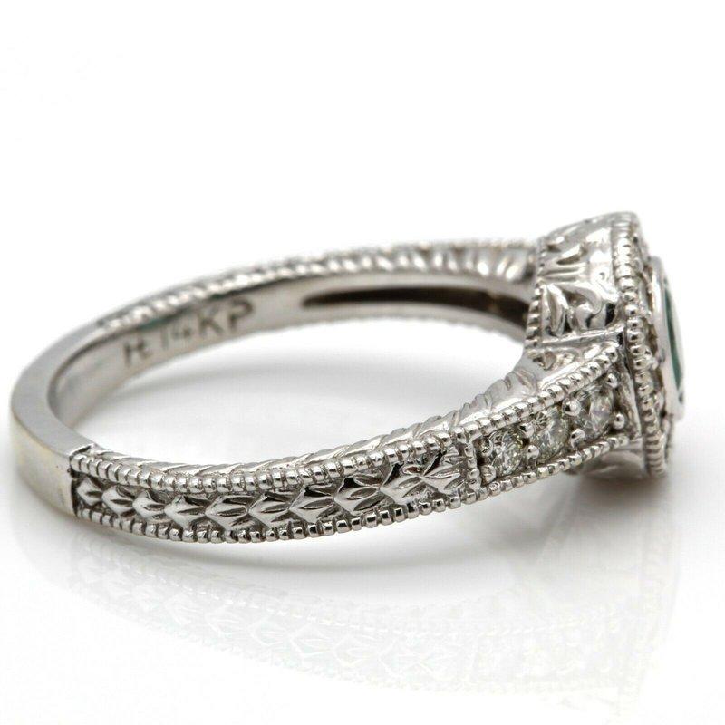 National Rarities 14K WHITE GOLD ROUND EMERALD & DIAMOND RING WITH MILGRAIN BEADING .74 CTW JB36-2
