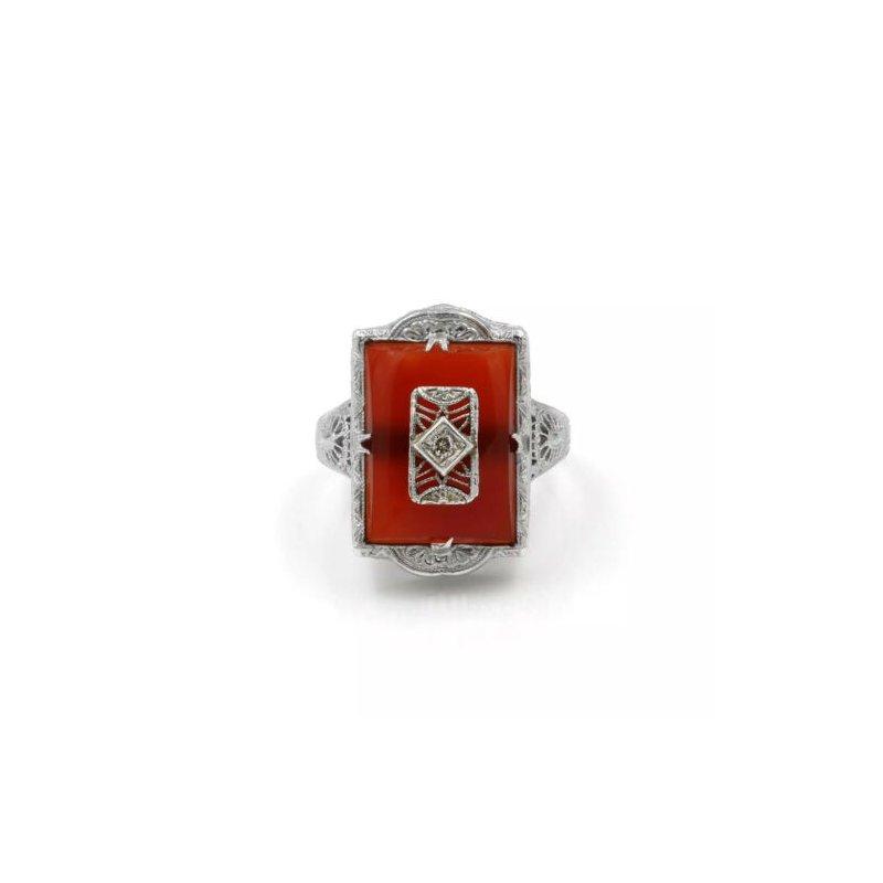 National Rarities VINTAGE 14K WHITE GOLD CARNELIAN BUFF TOP DIAMOND & FILIGREE RING 7.75 #1024B-6