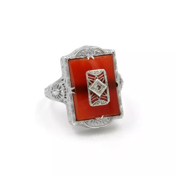 VINTAGE 14K WHITE GOLD CARNELIAN BUFF TOP DIAMOND & FILIGREE RING 7.75 #1024B-6