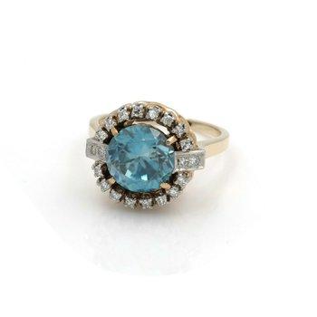 14K YELLOW GOLD & PLATINUM ROUND BLUE ZIRCON DIAMOND COCKTAIL RING #J3088-4