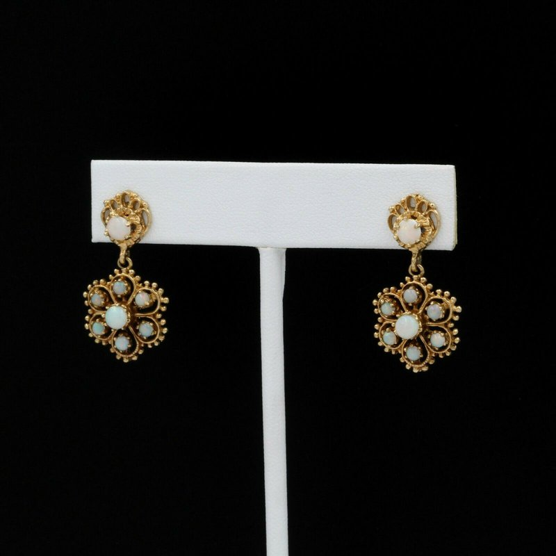 National Rarities 14K YELLOW GOLD FLOWER OPAL DANGLE EARRINGS VINTAGE WHITE ROUND CABOCHON 1034B-8
