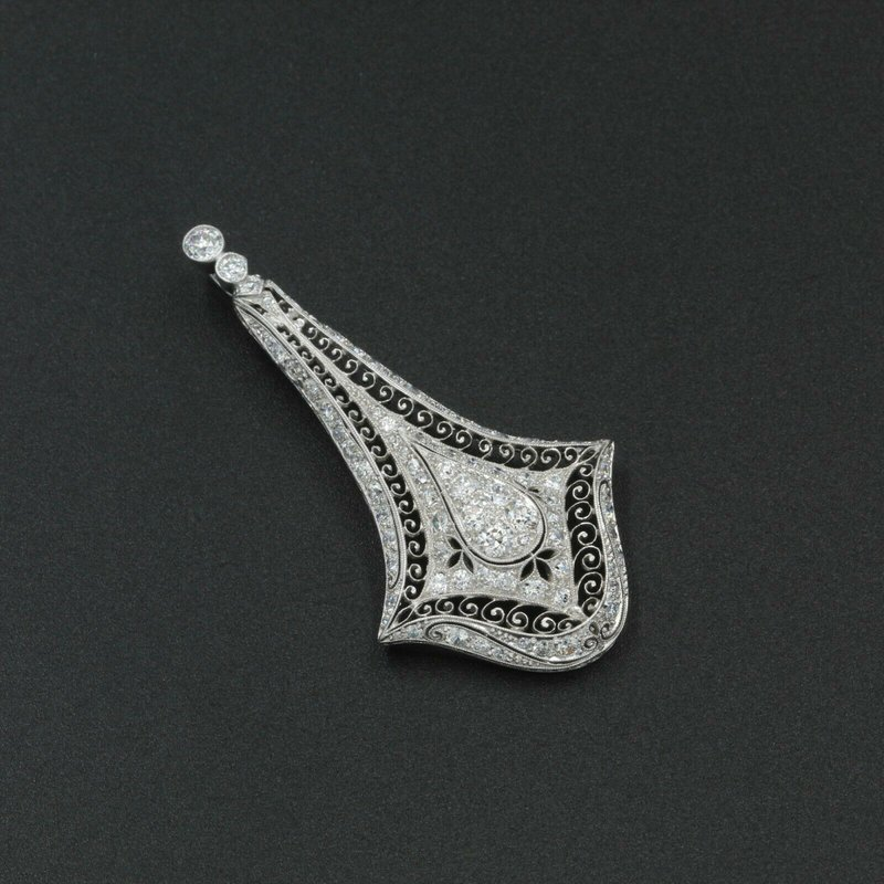 National Rarities PLATINUM  EDWARDIAN BELLE EPOQUE  4.0 CTW OLD EURO DIAMOND PENDANT NR #988B-6