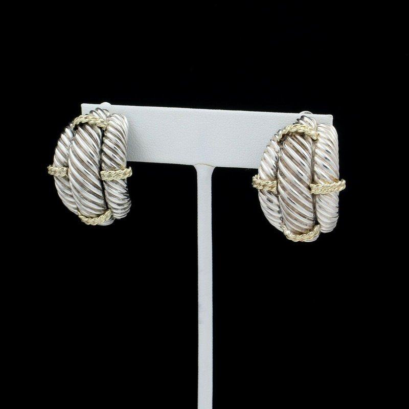 David Yurman DESIGNER DAVID YURMAN STERLING & 14K GOLD TRIPLE CABLE CLIP-ON EARRINGS D14-10