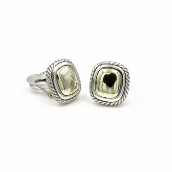 DAVID YURMAN ALBION PIERCED EARRINGS 14K YELLOW GOLD STERLING OMEGA BACK 1037B-8