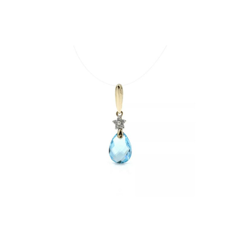 National Rarities 10K GOLD BLUE TOPAZ PEAR CHECKERBOARD DIAMOND ACCENT DANGLE PENDANT #1024B-10