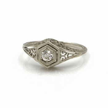 ART DECO 18K WHITE GOLD .20 CT OLD EURO DIAMOND OCTAGON SETTING RING #1020B-8