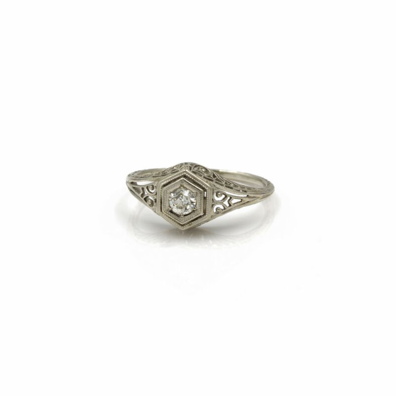 National Rarities ART DECO 18K WHITE GOLD .20 CT OLD EURO DIAMOND OCTAGON SETTING RING #1020B-8