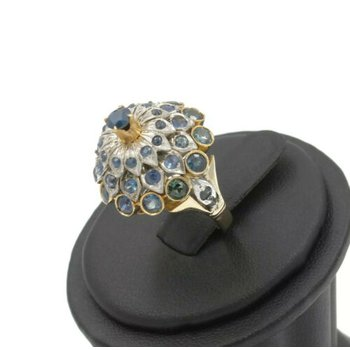 14K YELLOW GOLD NATURAL ROUND BLUE SAPPHIRE THAI PRINCESS RING SIZE 4.75 1034B-4