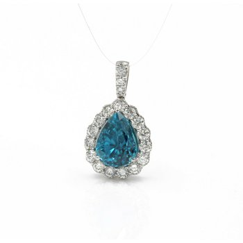 SIMON G. 18K WHITE GOLD 5.62 CTW PEAR BLUE ZIRCON DIAMOND HALO PENDANT #E-321