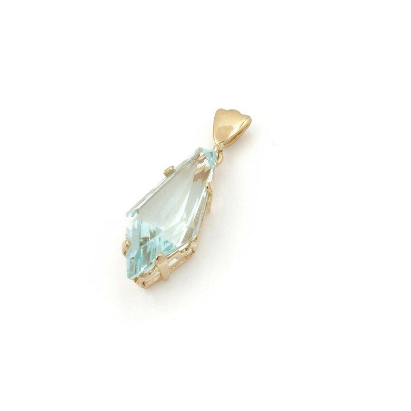 National Rarities 14K YELLOW GOLD 7.0 CT KITE BLUE GREEN AQUAMARINE DROP PENDANT CLASSIC #JB46-7