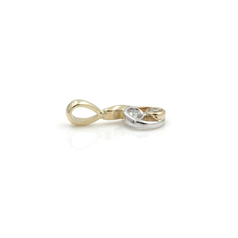 National Rarities 14K TWO TONE GOLD .20 CTW ROUND DIAMOND CONTEMPORARY DROP PENDANT PETITE #JB46-6