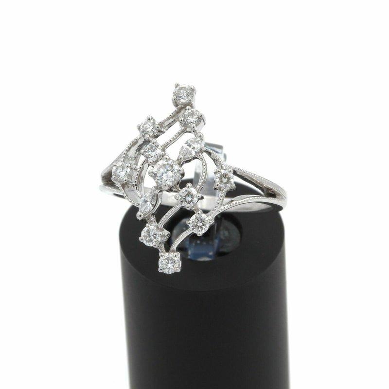 National Rarities 14K WHITE GOLD 0.75 CTW DIAMOND RBC & MQ BEAUTIFUL COCKTAIL RING SIZE 8.25 #J2-1