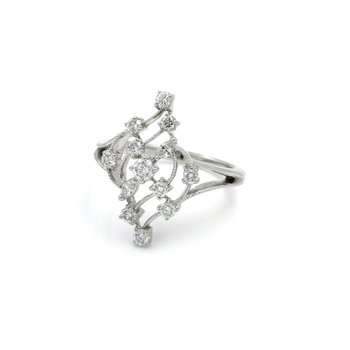 14K WHITE GOLD 0.75 CTW DIAMOND RBC & MQ BEAUTIFUL COCKTAIL RING SIZE 8.25 #J2-1