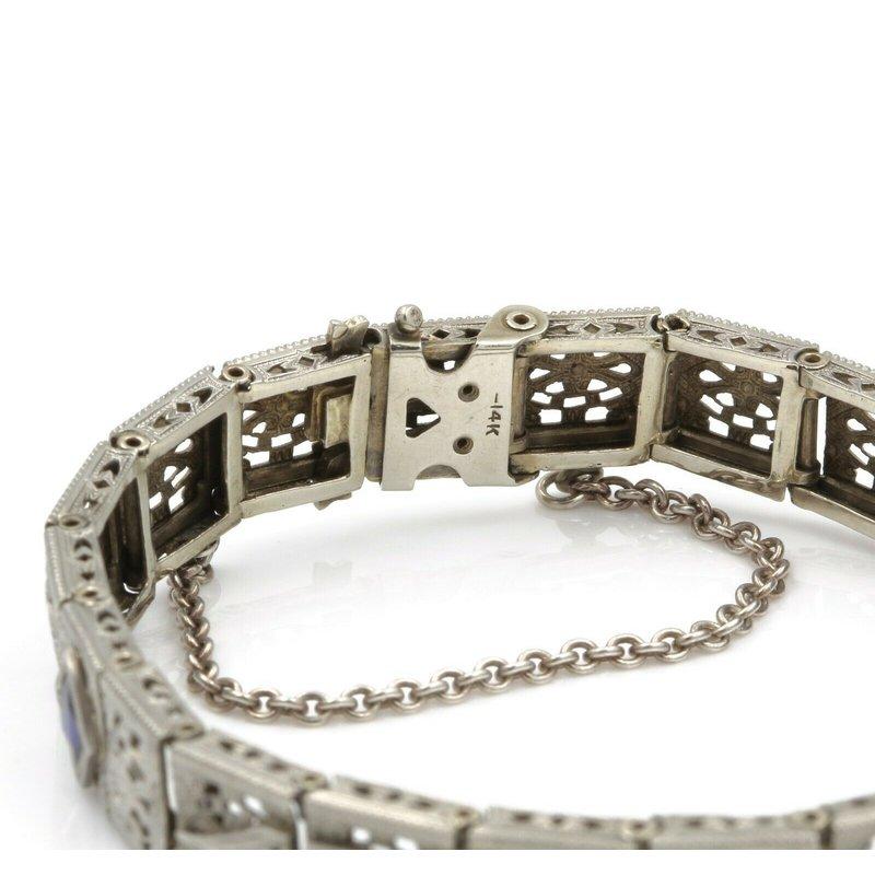 Unbranded ART DECO STYLE 14K WHITE GOLD FILIGREE DIAMOND & SAPPHIRE BRACELET .25 CT J791-7