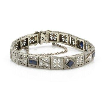 ART DECO STYLE 14K WHITE GOLD FILIGREE DIAMOND & SAPPHIRE BRACELET .25 CT J791-7