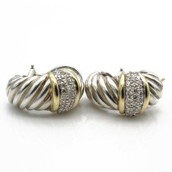 DAVID YURMAN STERLING SILVER 18K GOLD THOROUGHBRED SHRIMP HOOP EARRINGS #D535-7