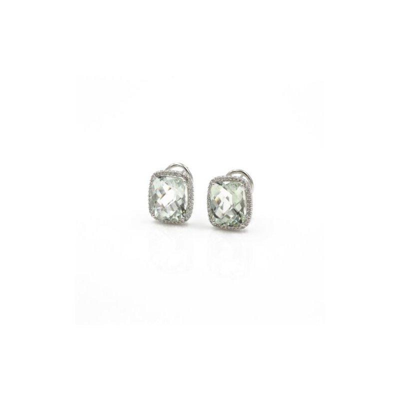 Omega 18K WHITE GOLD 9.68CTW CUSHION PRAZIOLITE & DIAMOND HALO OMEGA EARRINGS #1003B-5