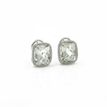 18K WHITE GOLD 9.68CTW CUSHION PRAZIOLITE & DIAMOND HALO OMEGA EARRINGS #1003B-5