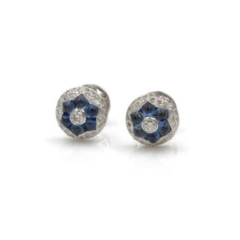 18K WHITE GOLD SAPPHIRE & DIAMOND CLUSTER STUD EARRINGS PUSH BACKS #1036B-8
