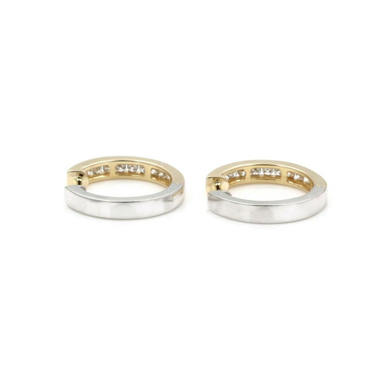 National Rarities 14K TWO TONE GOLD .50 CTW DIAMOND CHANNEL SET REVERSIBLE HOOP EARRINGS JB43-8