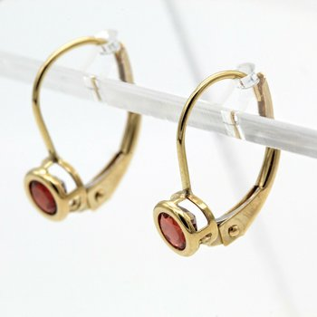 14K YELLOW GOLD GARNET LEVERBACK HOOP EARRINGS ROUND BEZEL SET 0.46 CTW 1013B-7