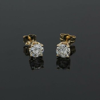 CLASSIC DIAMOND ROUND BRILLIANT SOLITAIRE STUD EARRINGS 4 PRONG 14K YG #1015B-7