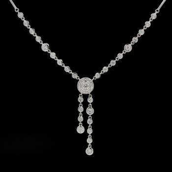 "EFFY DIAMOND ART DECO 14K WHITE GOLD STUNNING DROP DANGLE NECKLACE 16"" #1015B-10"