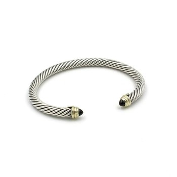 DAVID YURMAN ONYX STERLING SILVER & 14K YELLOW GOLD CABLE CUFF BRACELET #980B-4