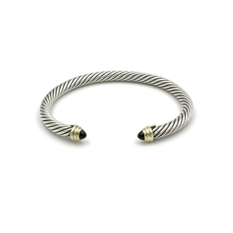 David Yurman DAVID YURMAN ONYX STERLING SILVER & 14K YELLOW GOLD CABLE CUFF BRACELET #980B-4