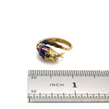 18K SOLID GOLD VINTAGE ENAMEL SERPENT RING BEAUTIFUL TEXTURE!!  NO RES #J2178-2