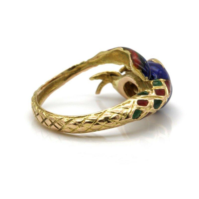 Unbranded 18K SOLID GOLD VINTAGE ENAMEL SERPENT RING BEAUTIFUL TEXTURE!!  NO RES #J2178-2