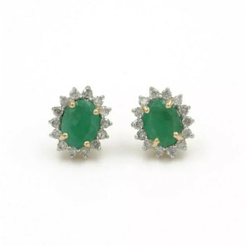 14K GORGEOUS EMERALD AND DIAMOND HALO STUD EARRINGS YELLOW GOLD CLASSIC #1026B-2