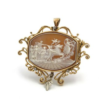 18K TWO TONE GOLD & DIAMOND CARVED SHELL PICTORIAL CAMEO BROOCH/PENDANT #988B-1
