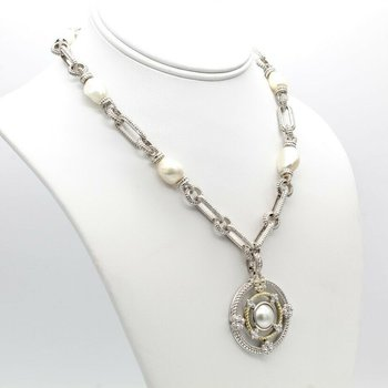 JUDITH RIPKA BAROQUE PEARL & DIAMOND STERLING SILVER 18K CABLE NECKLACE #1031B-8