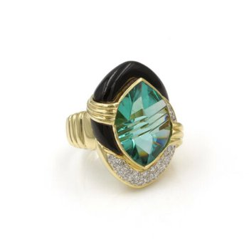 18K YELLOW GOLD 9.57 CTW FANTASY CUT TOURMALINE ONYX DIAMOND SCI-FI RING E-315