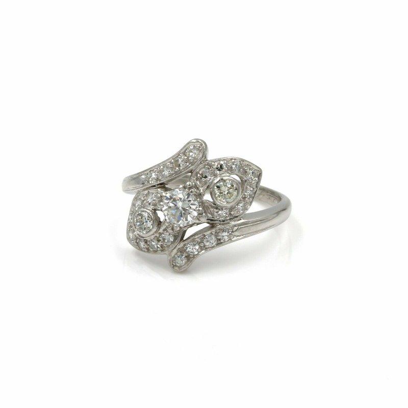 National Rarities 90 %PLATINUM / 10% IRIDIUM AND DIAMOND RING .97 CTW SIZE 7.25 SPARKLING #1007B-4