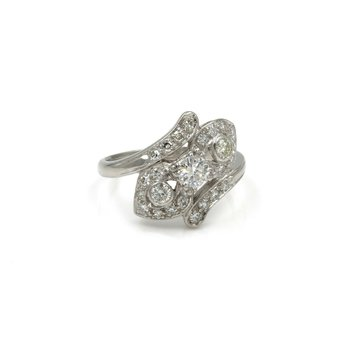 90 %PLATINUM / 10% IRIDIUM AND DIAMOND RING .97 CTW SIZE 7.25 SPARKLING #1007B-4