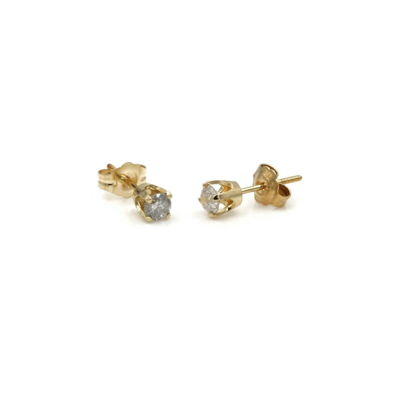 National Rarities 14K GOLD .34 CTW ROUND DIAMOND 4 PRONG CLASSIC STUD FRICTION EARRINGS #1084B-8