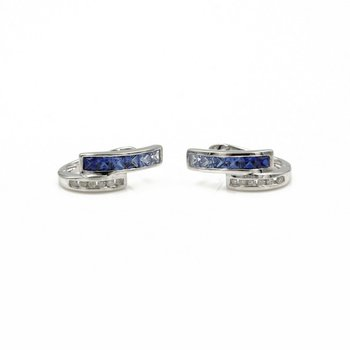 14K WHITE GOLD SAPPHIRE AND DIAMOND HOOP EARRINGS OMEGA BACK FABULOUS #1007B-9