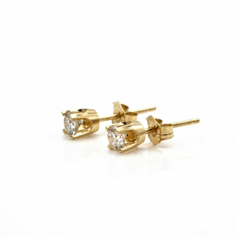 National Rarities 14K GOLD .38 CTW ROUND DIAMOND SOLITAIRE CLASSIC 4 PRONG STUD EARRINGS #1010B-9