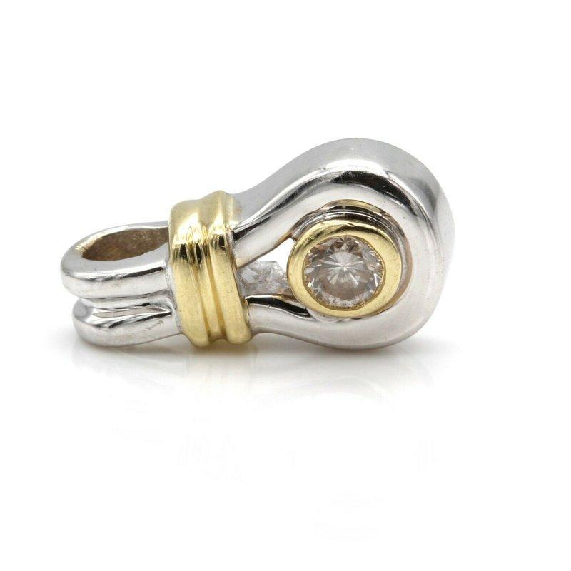 National Rarities 14K TWO TONE GOLD .10 CT ROUND DIAMOND CONTEMPORARY PETITE PENDANT #JB77-5