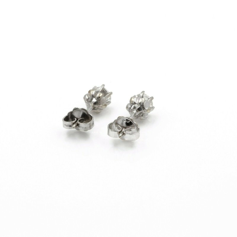 National Rarities 14K WHITE GOLD SIX PRONG ROUND DIAMOND STUD EARRINGS BUTTERFLY FASTENINGS #J5-10