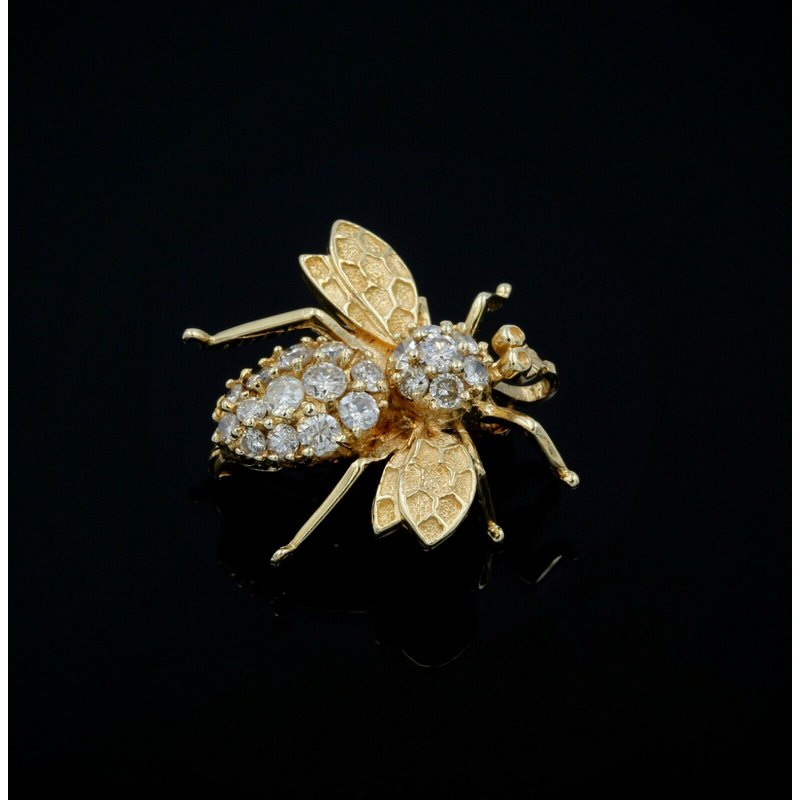 Ych 14K SOLID GOLD 1.70 CTW ROUND DIAMOND VINTAGE BEE BROOCH SIGNED YCH #990B-2